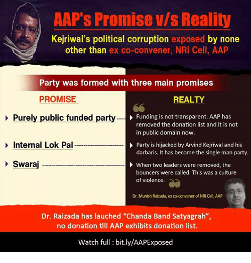 """Transparencies: AAP's Promise Vls Reality  Kejriwal's political corruption exposed by none  other than  ex co-convener, NRI Cell, AAP  Party was formed with three main promises  PROMISE  REALTY  Funding is not transparent. AAP has  Purely public funded party  removed the donation list and it is not  in public domain now.  Internal Lok Pal  Party is hijacked by Arvind Kejriwal and his  darbaris. It has become the single man party.  Swaraj  When two leaders were removed, the  bouncers were called. This was a culture  of violence.  Dr. Munish Raizada, ex co-convener of NRI Cell, AAP  Dr. Raizada has lauched """"Chanda Band Satyagrah""""  no donation till AAP exhibits donation list.  Watch full bit.ly/AAPExposed"""