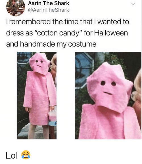 """cotton candy: Aarin The Shark  @AarinTheShark  I remembered the time that I wanted to  dress as """"cotton candy"""" for Halloween  and handmade my costume Lol 😂"""