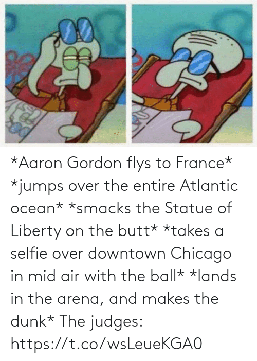 Dunk: *Aaron Gordon flys to France*  *jumps over the entire Atlantic ocean*  *smacks the Statue of Liberty on the butt* *takes a selfie over downtown Chicago in mid air with the ball*  *lands in the arena, and makes the dunk*  The judges: https://t.co/wsLeueKGA0