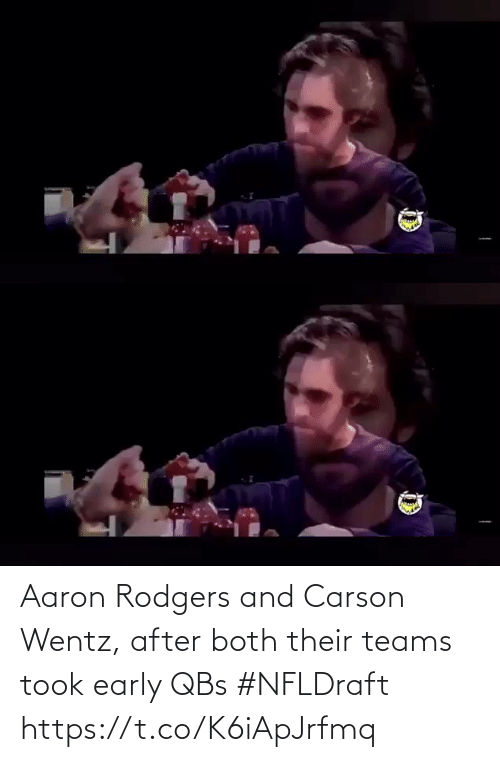Early: Aaron Rodgers and Carson Wentz, after both their teams took early QBs #NFLDraft https://t.co/K6iApJrfmq