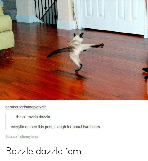 dazzle: aaroncuterthanapigtveit:  the ol razzle dazzle  everytime I see this post, I laugh for about two hours  Source: itsfunnytome Razzle dazzle 'em