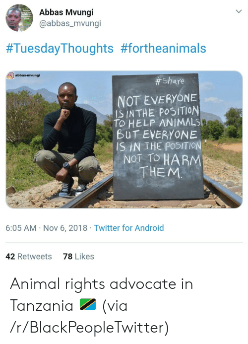 tanzania: Abbas Mvungi  @abbas_mvungi  #TuesdayThoughts #fortheanimals  abbas-mvungi  # Share  NOT EVERYONE  IS INTHE POSITION  TO HELP ANIMALS  BUT EVERYONE  SIN THE POSITION  NOT TO HARM  THEM  6:05 AM Nov 6, 2018 Twitter for Android  78 Likes  42 Retweets Animal rights advocate in Tanzania 🇹🇿 (via /r/BlackPeopleTwitter)