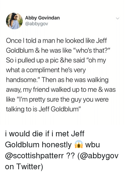 """Memes, Twitter, and Jeff Goldblum: Abby Govindan  @abbygov  Once l told a man he looked like Jeff  Goldblum & he was like """"who's that?""""  So i pulled up a pic &he said """"oh my  what a compliment he's very  handsome."""" Then as he Was walking  away, my friend walked up to me & was  like """"l'm pretty sure the guy you were  talking to is Jeff Goldblum i would die if i met Jeff Goldblum honestly 😱 wbu @scottishpatterr ?? (@abbygov on Twitter)"""