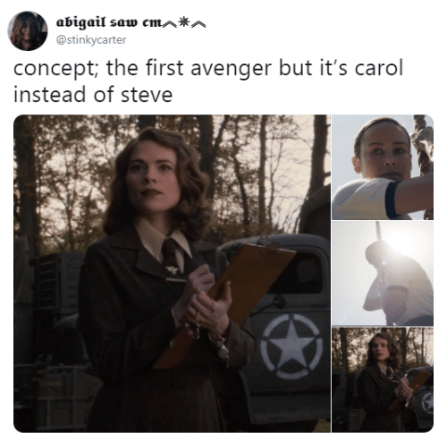 Saw, Avenger, and First: abigail saw cmAA  @stinkycarter  concept; the first avenger but it's carol  instead of steve