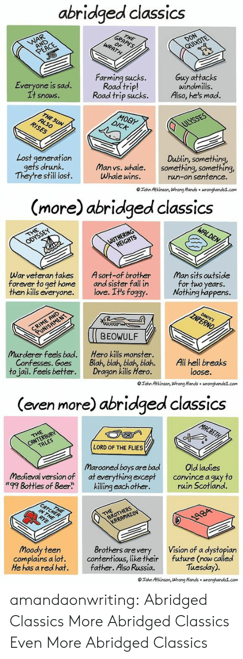 """Atkinson: abridged classics  Everyone is sad.  t snowS.  Farming sucks.  Road trip!  Road trip sucks.  Guy attacks  windmills.  Also, he's mad.  MOBy  Lost generation  Dublin, something,  s drunk. Man vs. whale. something, something,  They're still lost.  Whale wins.  run-on sentence  Tohn Atkinson, Wrong Hands wronghands1.com   (more) abridged classics  War veteran takes  forever to get home  then kills everyone.  Asort-of brother  and sister fall in  love. It's foggy  Man sits outside  for two years.  Nothing happens.  BEOWULF  Murderer feels bad.  Confesses. Goes  to jail. Feels better.  Hero kills monster.  Blah, blah, blah, blah.All hell breaks  Dragon kills Hero.  loose.  Tohn Atkinson, Wrong Hands wronghandis1.com   (even more) abridged classics  LORD OF THE FLIES  Marooned boys are bad  medieval version of at everything except  """"'99 Bottles of Beerkilling eachother.  Old ladies  convince a guy to  ruin Scotland.  Moody teen  complains a lot.  He has a red hat.  Brothers arevery  contentious, like their  father. Also Russia.  Vision of a dystopian  future (now called  Tuesday).  Tohn Atkinson, Wrong Hands wronghands1.com amandaonwriting:  Abridged Classics More Abridged Classics Even More Abridged Classics"""