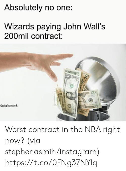 Instagram, Nba, and Wizards: Absolutely no one:  Wizards paying John Wall's  200mil contract:  stephanuamh Worst contract in the NBA right now? (via stephenasmih/instagram) https://t.co/0FNg37NYIq