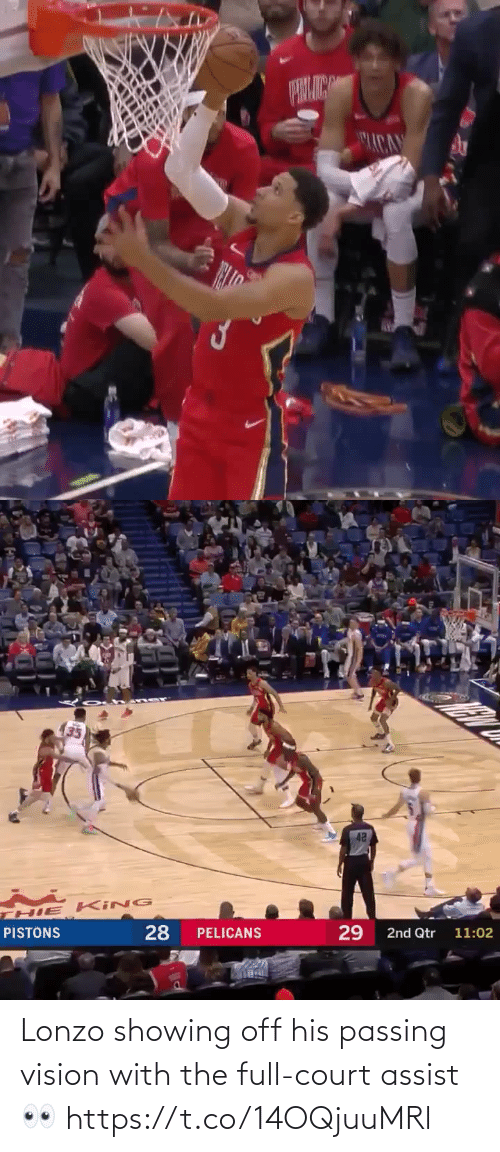 Memes, Vision, and 🤖: ACA   42  HIE KING  28  29  PISTONS  PELICANS  2nd Qtr 11:02 Lonzo showing off his passing vision with the full-court assist👀 https://t.co/14OQjuuMRl