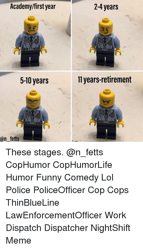 Funny, Lol, and Meme: Academy/first year  2-4 years  5-10 years  11 years-retirement  @n fetts These stages. @n_fetts CopHumor CopHumorLife Humor Funny Comedy Lol Police PoliceOfficer Cop Cops ThinBlueLine LawEnforcementOfficer Work Dispatch Dispatcher NightShift Meme