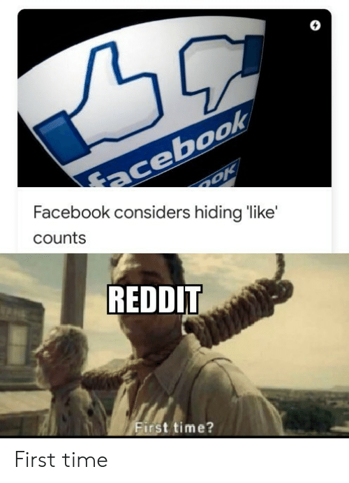 Facebook, Reddit, and Time: acebook  Facebook considers hiding like'  counts  REDDIT  First time? First time