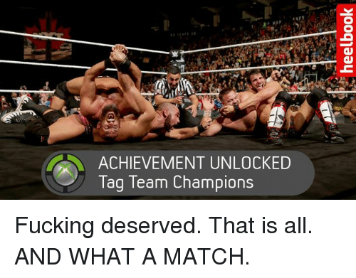 tag team: ACHIEVEMENT UNLOCKED  Tag Team Champions Fucking deserved. That is all. AND WHAT A MATCH.