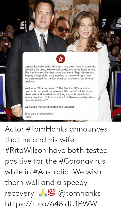 Both: Actor #TomHanks announces that he and his wife #RitaWilson have both tested positive for the #Coronavirus while in #Australia. We wish them well and a speedy recovery! 🙏💯 @tomhanks https://t.co/648idU1PWW