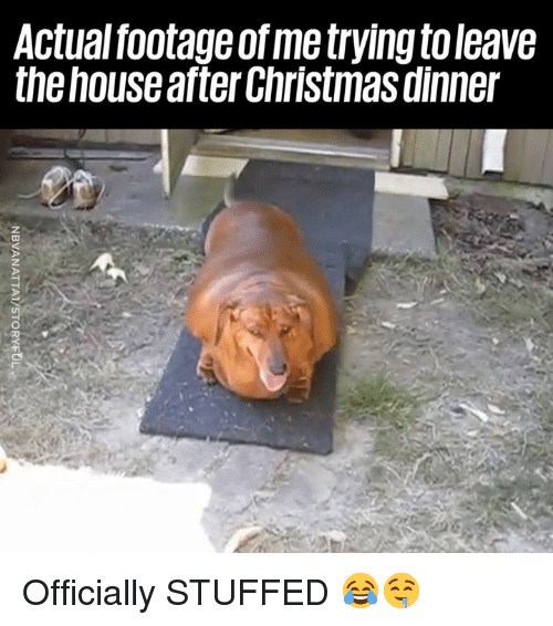 christmas dinner: Actual footage of me trying toleave  the house after Christmas dinner Officially STUFFED 😂🤤