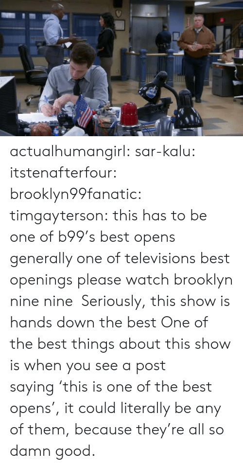 Opens: actualhumangirl: sar-kalu:  itstenafterfour:  brooklyn99fanatic:  timgayterson: this has to be one of b99's best opens  generally one of televisions best openings  please watch brooklyn nine nine    Seriously, this show is hands down the best  One of the best things about this show is when you see a post saying 'this is one of the best opens', it could literally be any of them, because they're all so damn good.
