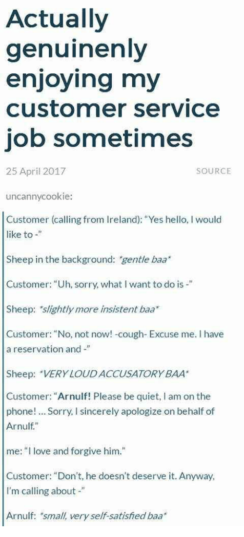 "Hello, Love, and Phone: Actually  genuinenly  enjoying my  customer service  job sometimes  25 April 2017  SOURCE  uncannycookie:  Customer (calling from Ireland): ""Yes hello, I would  like to -  Sheep in the background: gentle baa  Customer: ""Uh, sorry, what I want to do is -""  Sheep: slightly more insistent baa*  Customer: ""No, not now! -cough- Excuse me. I have  a reservation and -""  Sheep: VERY LOUD ACCUSATORY BAA  Customer: ""Arnulf! Please be quiet, I am on the  phone!. Sorry, I sincerely apologize on behalf of  Arnulf""  me:"" love and forgive him.""  Customer: ""Don't, he doesn't deserve it. Anyway  I'm calling about""  Arnulf: small, very self-satisfied baa*"