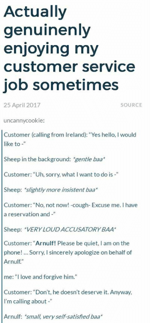 "Hello, Love, and Phone: Actually  genuinenly  enjoying my  customer service  job sometimes  25 April 2017  SOURCE  uncannycookie:  Customer (calling from Ireland): ""Yes hello, I would  like to -""  Sheep in the background: ""gentle baa  Customer: ""Uh, sorry, what I want to do is -""  Sheep: slightly more insistent baa  Customer: ""No, not now! -cough- Excuse me. I have  a reservation and-""  Sheep: VERY LOUDACCUSATORY BAA  Customer: ""Arnulf! Please be quiet, I am on thee  phone!.. Sorry, I sincerely apologize on behalf of  Arnulf""  me: ""I love and forgive him.""  Customer: ""Don't, he doesn't deserve it. Anyway  I'm calling about -""  Arnulf: small, very self-satisfied baa*"