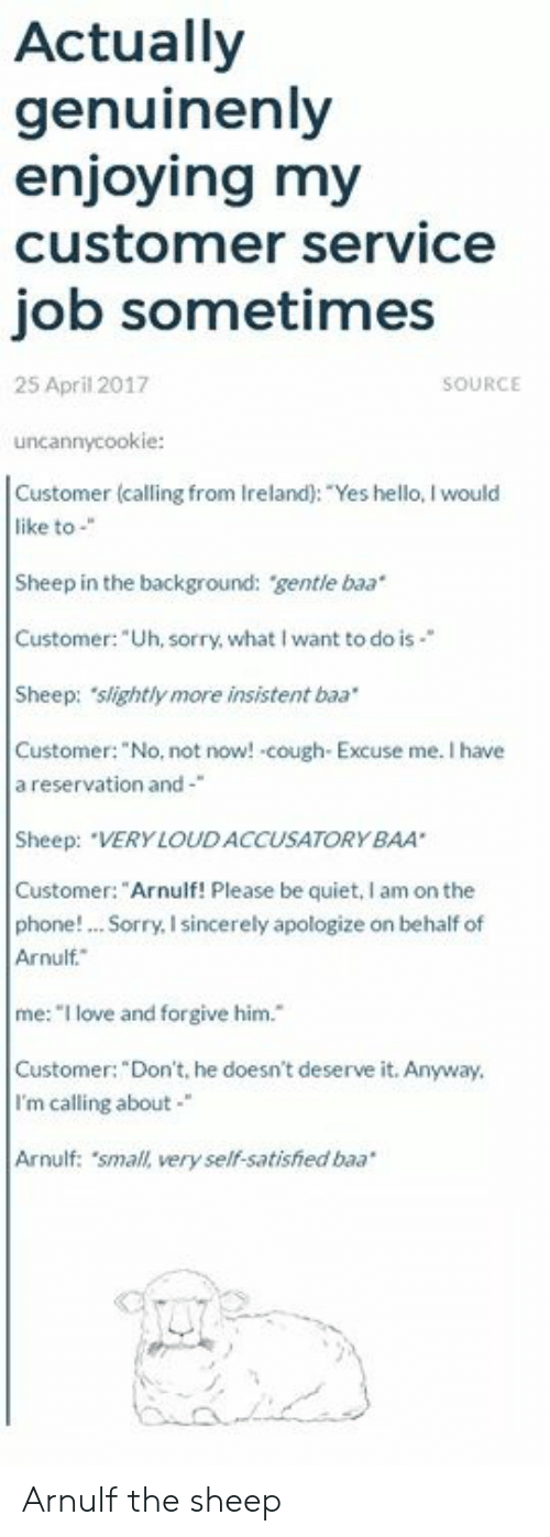 "Hello, Love, and Phone: Actually  genuinenly  enjoying my  customer service  job sometimes  25 April 2017  SOURCE  uncannycookie:  Customer (calling from Ireland): ""Yes hello, I would  like to-""  Sheep in the background: gentle baa  Customer: ""Uh, sorry, what I want to do is-""  Sheep: slightly more insistent baa  Customer: ""No, not now! cough Excuse me. I have  a reservation and-  Sheep: ""VERY LOUDACCUSATORYBAA  Customer:""Arnulf! Please be quiet, I am on the  phone! Sorry, I sincerely apologize on behalf of  Arnulf.  me:""I love and forgive him.  Customer: ""Don't, he doesn't deserve it. Anyway  I'm calling about  Arnulf: 'small, very self-satisfhed baa Arnulf the sheep"