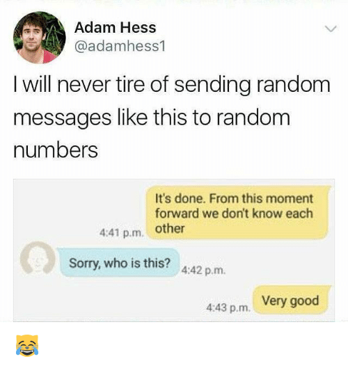 randomizer: Adam Hess  @adamhess1  I will never tire of sending random  messages like this to random  numbers  It's done. From this moment  forward we don't know each  4:41 p.m. other  Sorry, who is this? 442 p.m.  4:43 p.m. Very good 😹