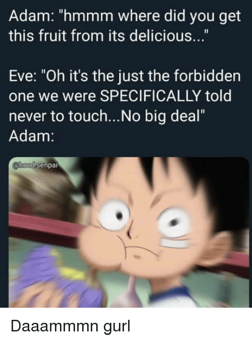 """Never, Eve, and Big: Adam: """"hmmm where did you get  this fruit from its delicious...""""  Eve: """"Oh it's the just the forbidden  one we were SPECIFICALLY told  never to touch...No big deal""""  Adam:  hoodsenpai Daaammmn gurl"""