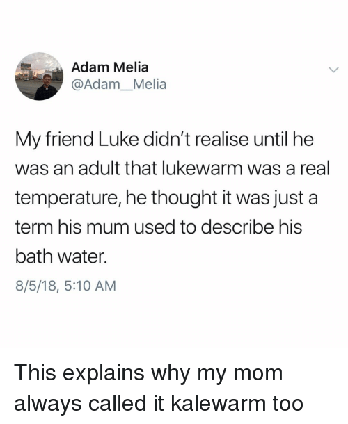 Bath Water: Adam Melia  @Adam_Melia  My friend Luke didn't realise until he  was an adult that lukewarm was a real  temperature, he thought it was just a  term his mum used to describe his  bath water.  8/5/18, 5:10 AM This explains why my mom always called it kalewarm too