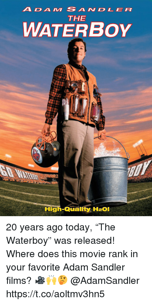 """Adam Sandler: ADAM SANDLER  THE  WATERBoY  High-Quality H2O! 20 years ago today, """"The Waterboy"""" was released! Where does this movie rank in your favorite Adam Sandler films? 🎥🙌🤔 @AdamSandler https://t.co/aoltmv3hn5"""