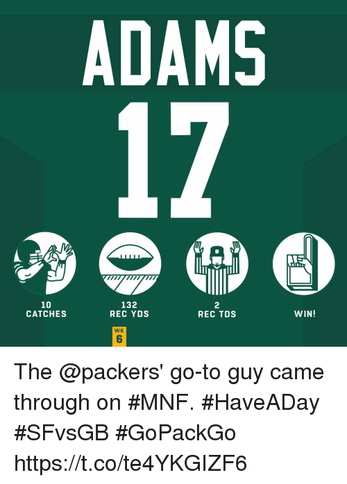 Memes, Packers, and 🤖: ADAMS  10  CATCHES  132  REC YDS  2  REC TDS  WIN!  WK  6 The @packers' go-to guy came through on #MNF. #HaveADay #SFvsGB  #GoPackGo https://t.co/te4YKGIZF6