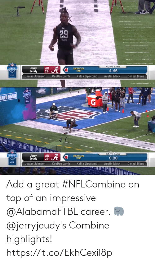 career: Add a great #NFLCombine on top of an impressive @AlabamaFTBL career. 🐘  @jerryjeudy's Combine highlights! https://t.co/EkhCexil8p