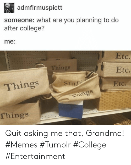 quit: admfirmuspiett  someone: what are you planning to do  after college?  me:  Etc.  Things  Etc.  Stuff  Things  Etc.  hings  Things Quit asking me that, Grandma! #Memes #Tumblr #College #Entertainment