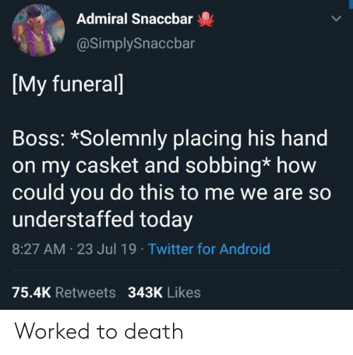 how could you: Admiral Snaccbar  @SimplySnaccbar  [My funerall  Boss: *Solemnly placing his hand  on my casket and sobbing* how  could you do this to me we are so  understaffed today  8:27 AM 23 Jul 19 Twitter for Android  75.4K Retweets 343K Likes Worked to death