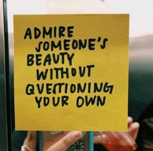 Own, Admire, and Someones: ADMIRE  SOMEONE'S  BEAVTY  WITHDUT  QVETIONING  YDUR OWN
