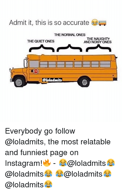 Instagram, Quiet, and Relatable: Admit it, this is so accurate  THE NORMAL ONES  THE NAUGHTY  AND NOISY ONES  THE QUIET ONES Everybody go follow @loladmits, the most relatable and funniest page on Instagram!🔥 - 😂@loladmits😂 @loladmits😂 😂@loladmits😂 @loladmits😂