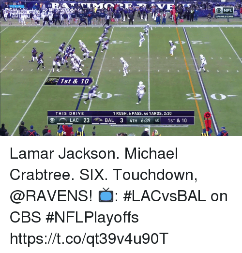 Memes, Cbs, and Drive: AFC WILD CARD  1st & 10  THIS DRIVE  1 RUSH, 6 PASS, 44 YARDS, 2:30  LAC 23 AT BAL 34TH 6:39 40 1ST & 10 Lamar Jackson. Michael Crabtree. SIX.  Touchdown, @RAVENS!  📺: #LACvsBAL on CBS #NFLPlayoffs https://t.co/qt39v4u90T