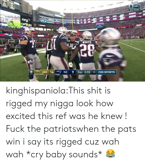 Reffing: AFCCHAMP ini  10  NA POINT  WHITE  20  . JAX 14-r, NE 9 2ND 0:55 35 CBS SPORTS kinghispaniola:This shit is rigged my nigga look how excited this ref was he knew ! Fuck the patriotswhen the pats win i say its rigged cuz wah wah *cry baby sounds* 😂