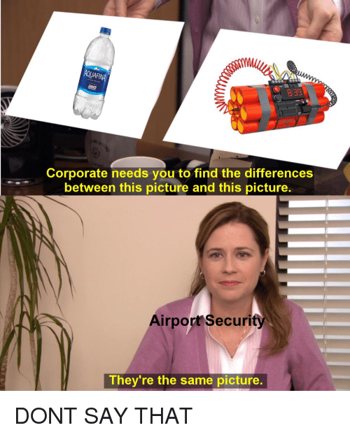 Corporate, Afi, and Don: AFI  839  Corporate needs you to find the differences  between this picture and this picture.  Airport Security  They're the same picture. DONT SAY THAT