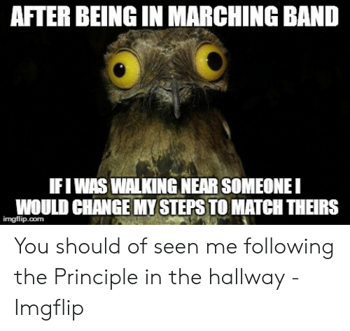 Funny Band Memes: AFTER BEING IN MARCHING BAND  IFIWAS WALKING NEAR SOMEONEI  WOULD CHANGE MY STEPS TO MATCH THEIRS  imgflip.com You should of seen me following the Principle in the hallway - Imgflip