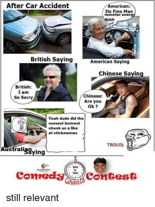 Americanness: After Car Accident  American:  Its Fine Man  monster energ  drink  British Saying  American Saying  Chinese saying  British:  I am  Chinese:  So Sorry  Are you  Ok  sussest burnout  chuck us a like  at stick memes  TROLOL  en  Australi  Connecly  Contest  Ghanta still relevant