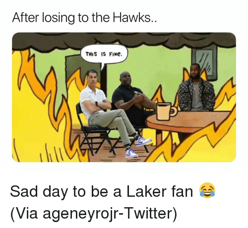 Basketball, Nba, and Sports: After losing to the Hawks  THIS IS FINe. Sad day to be a Laker fan 😂 (Via ageneyrojr-Twitter)