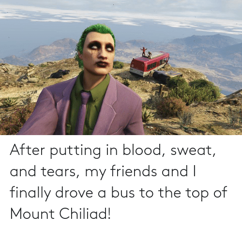 bus: After putting in blood, sweat, and tears, my friends and I finally drove a bus to the top of Mount Chiliad!