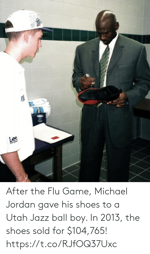 Jordan: After the Flu Game, Michael Jordan gave his shoes to a Utah Jazz ball boy.   In 2013, the shoes sold for $104,765! https://t.co/RJfOQ37Uxc