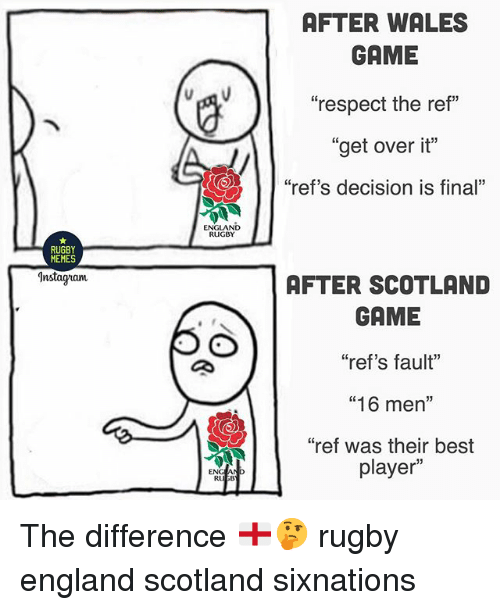 "England, Instagram, and Memes: AFTER WALES  GAME  ""respect the ref""  ""get over it""  ""ref's decision is final""  ENGLAND  RUGBY  RUGBY  MEMES  Instagram  AFTER SCOTLAND  GAME  ""ref's fault""  ""16 men""  ""ref was their best  player""  ENG The difference 🏴󠁧󠁢󠁥󠁮󠁧󠁿🤔 rugby england scotland sixnations"