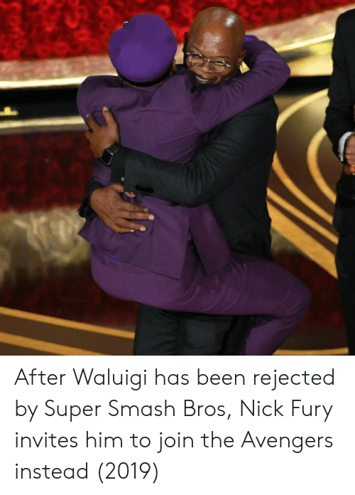 waluigi: After Waluigi has been rejected by Super Smash Bros, Nick Fury invites him to join the Avengers instead (2019)