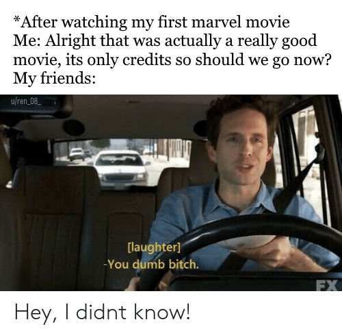 You Dumb Bitch: *After watching my first marvel movie  Me: Alright that was actually a really good  movie, its only credits so should we go now?  My friends:  uren08  [laughter]  You dumb bitch.  FX Hey, I didnt know!