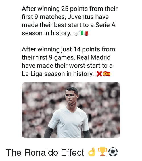 Memes, Real Madrid, and Best: After winning 25 points from their  first 9 matches, Juventus have  made their best start to a Serie A  season in history.  After winning just 14 points from  their first 9 games, Real Madrid  have made their worst start to a  La Liga season in history. The Ronaldo Effect 👌🏆⚽️