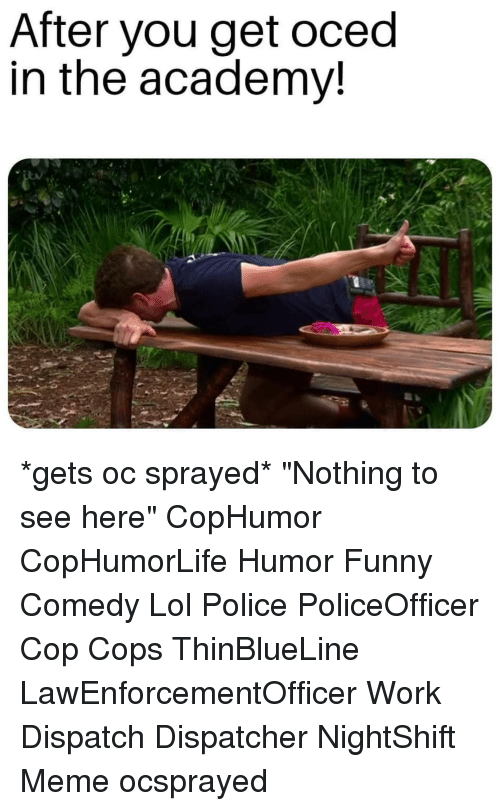 "Funny, Lol, and Meme: After you get oced  in the academv! *gets oc sprayed* ""Nothing to see here"" CopHumor CopHumorLife Humor Funny Comedy Lol Police PoliceOfficer Cop Cops ThinBlueLine LawEnforcementOfficer Work Dispatch Dispatcher NightShift Meme ocsprayed"