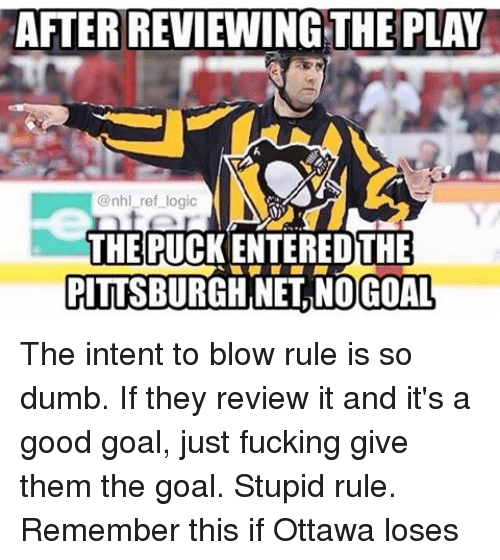 no goal: AFTERREVIEWING THE PLAY  @nhl ref logic  THE PUCK ENTEREDTHE  PITTSBURGH NEL NO GOAL The intent to blow rule is so dumb. If they review it and it's a good goal, just fucking give them the goal. Stupid rule. Remember this if Ottawa loses