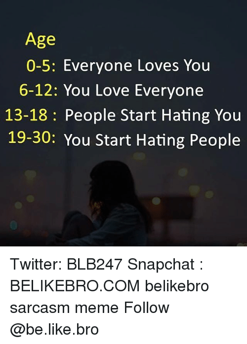 Be Like, Love, and Meme: Age  0-5: Everyone Loves You  6-12: You Love Everyone  13-18: People Start Hating You  19-30: You Start Hating People Twitter: BLB247 Snapchat : BELIKEBRO.COM belikebro sarcasm meme Follow @be.like.bro