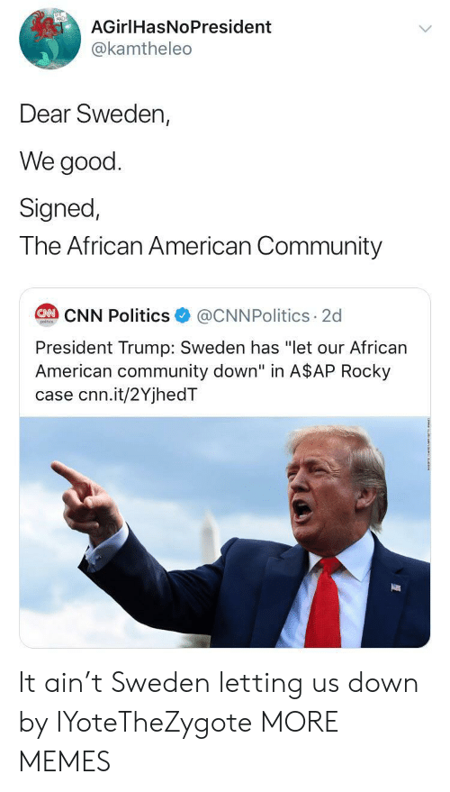 """Sweden: AGirlHasNoPresident  @kamtheleo  Dear Sweden,  We good  Signed,  The African American Community  @CNNPolitics 2d  CAN CNN Politics  poitcs  President Trump: Sweden has """"let our African  American community down"""" in A$AP Rocky  case cnn.it/2YjhedT It ain't Sweden letting us down by IYoteTheZygote MORE MEMES"""
