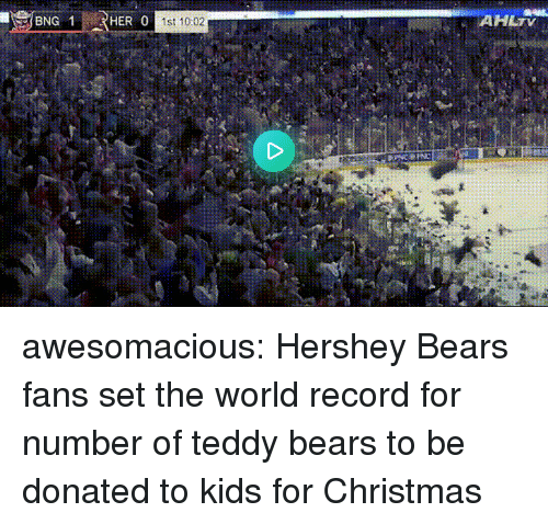 Christmas, Tumblr, and Bears: AHLTV  HER 0  1st 10:02 awesomacious:  Hershey Bears fans set the world record for number of teddy bears to be donated to kids for Christmas
