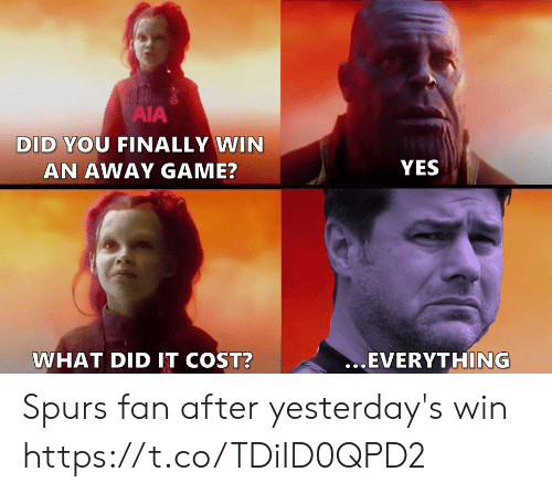 Spurs: AIA  DID YOU FINALLY WIN  YES  AN AWAY GAME?  ...EVERYTHING  WHAT DID IT COST? Spurs fan after yesterday's win https://t.co/TDiID0QPD2