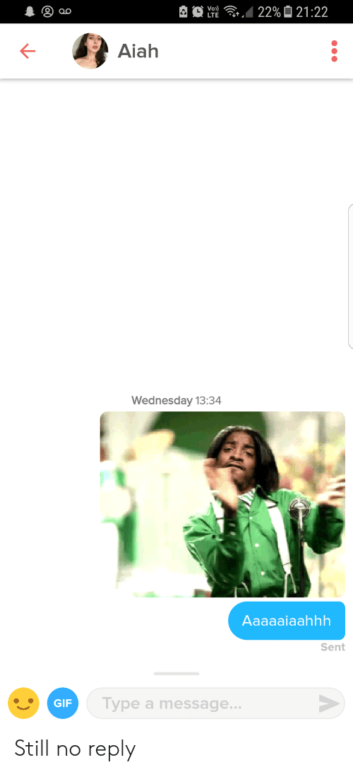 No Reply: Aiah  Wednesday 13:34  Aaaaaiaahhh  Sent  GIF  Type a message  .. Still no reply