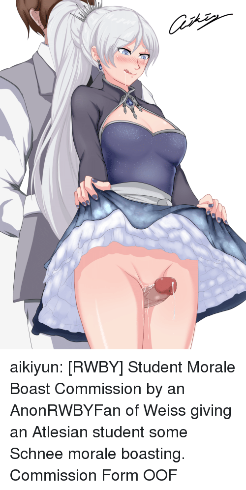 Target, Tumblr, and Blog: aikiyun: [RWBY] Student Morale Boast Commission by an AnonRWBYFan of Weiss giving an Atlesian student some Schnee morale boasting. Commission Form  OOF